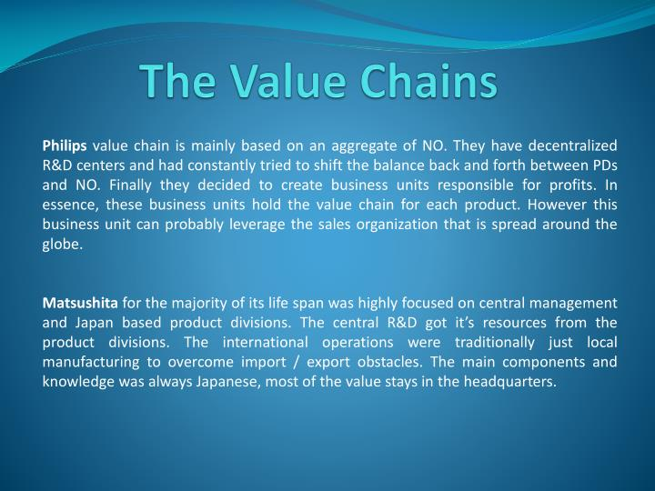 The Value Chains