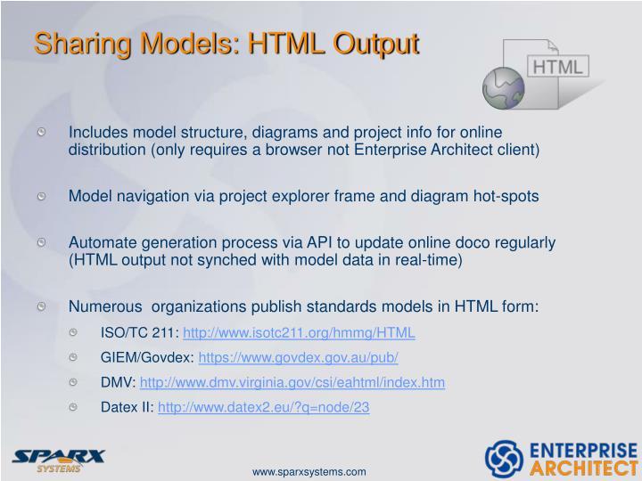 Sharing Models: HTML Output