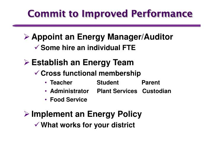 Commit to Improved Performance