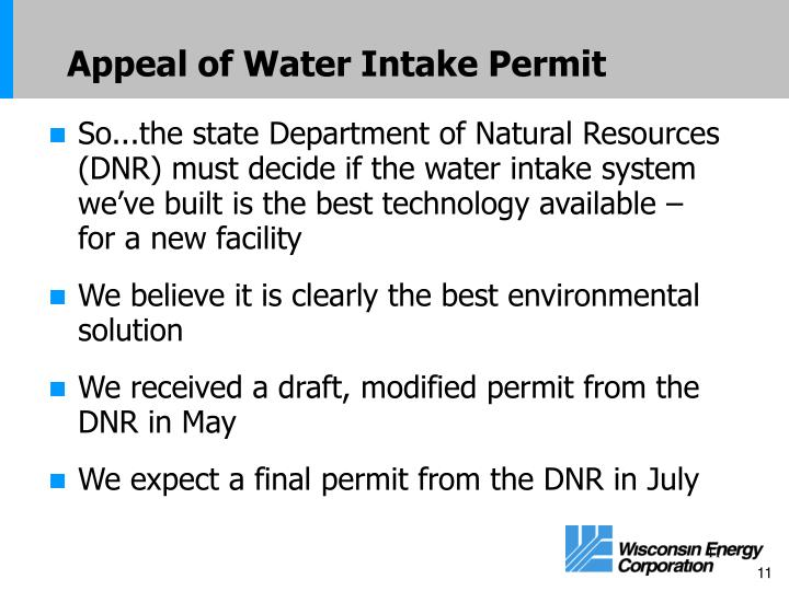 Appeal of Water Intake Permit
