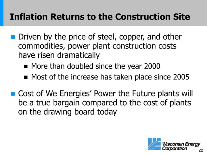 Inflation Returns to the Construction Site