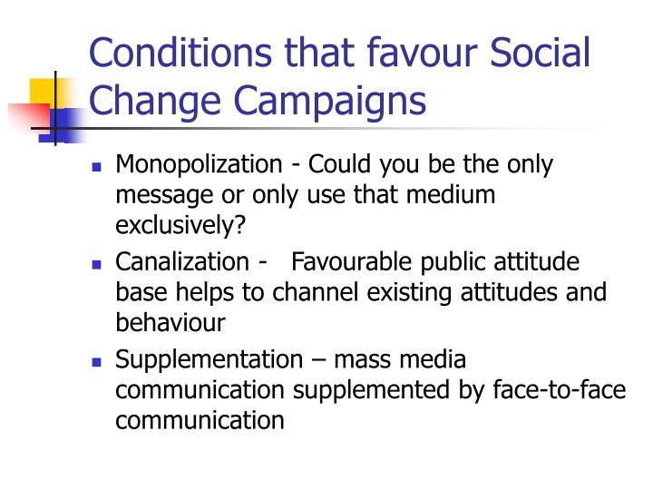 Conditions that favour Social Change Campaigns