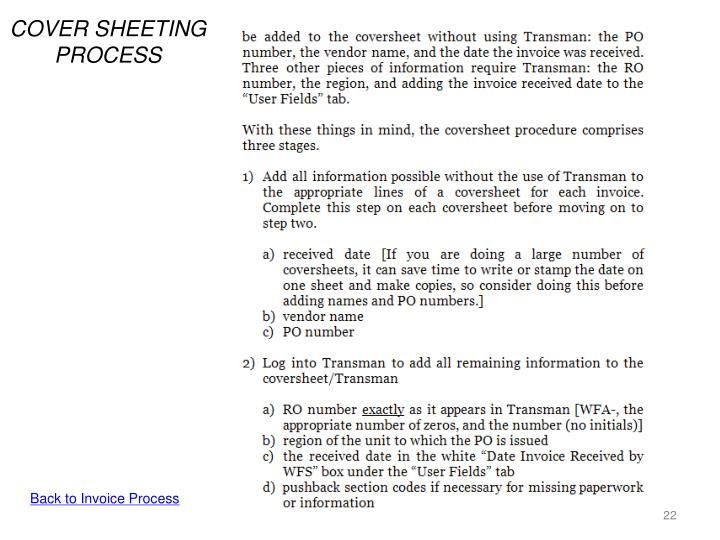 COVER SHEETING PROCESS