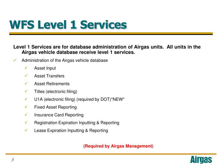 Level 1 Services are for database administration of Airgas units.  All units in the Airgas vehicle database receive level 1 services.