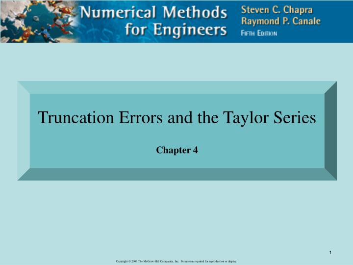 Truncation Errors and the Taylor Series