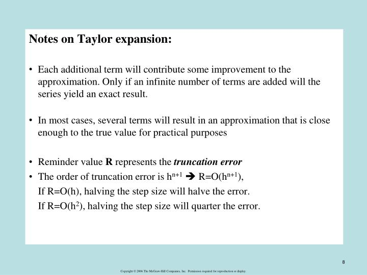 Notes on Taylor expansion: