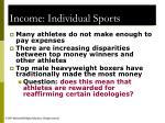 income individual sports