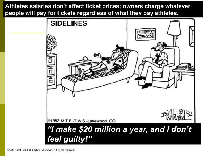 Athletes salaries don't affect ticket prices; owners charge whatever people will pay for tickets regardless of what they pay athletes.