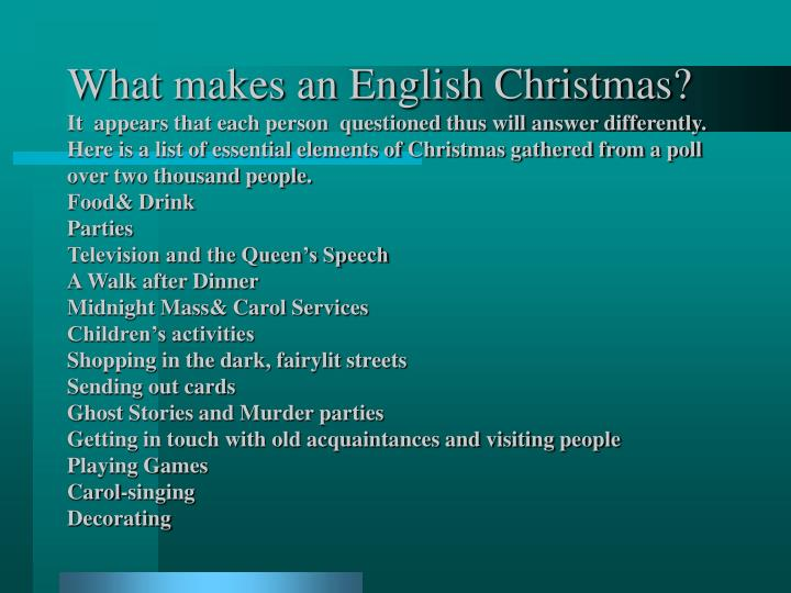 What makes an English Christmas?