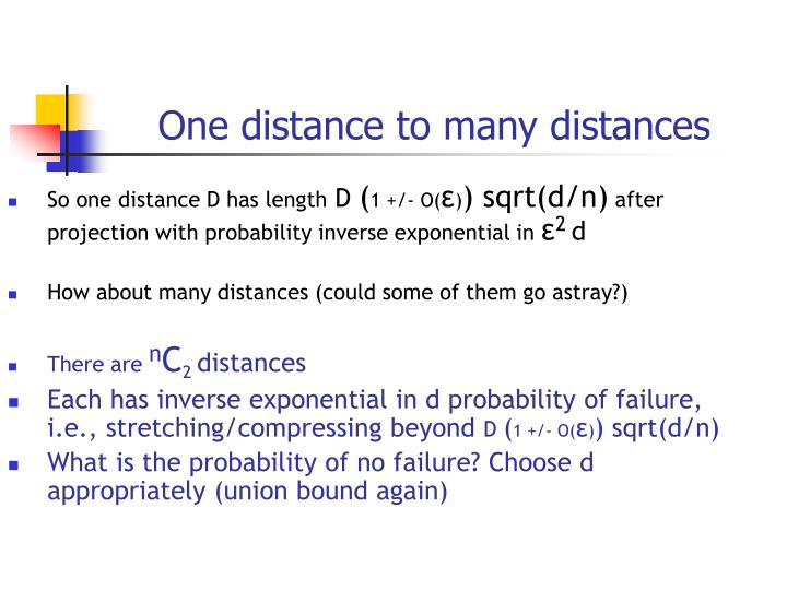 One distance to many distances