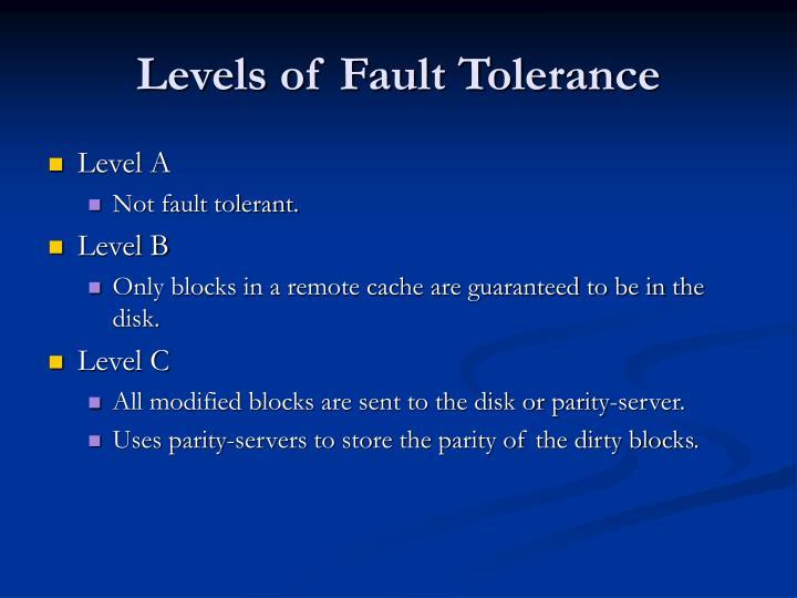Levels of Fault Tolerance