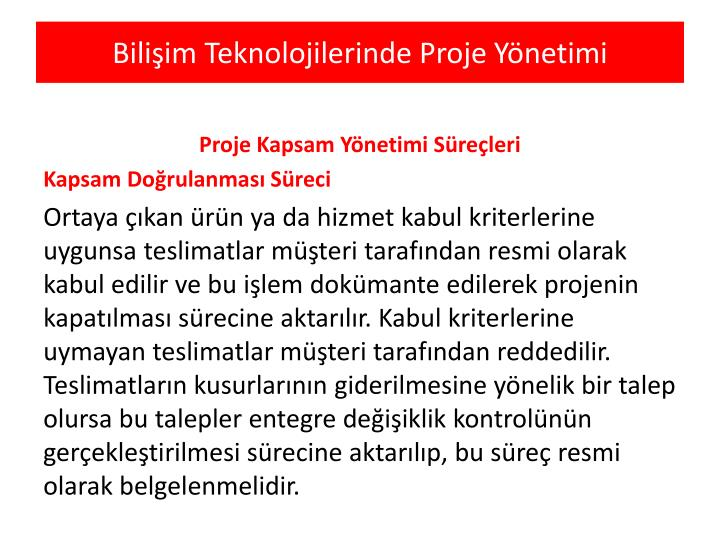 Bilişim Teknolojilerinde Proje Yönetimi