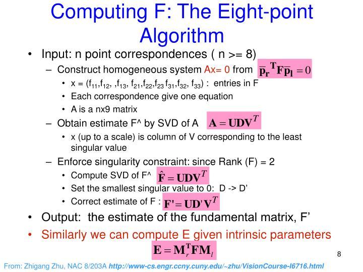 Computing F: The Eight-point Algorithm