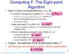 computing f the eight point algorithm