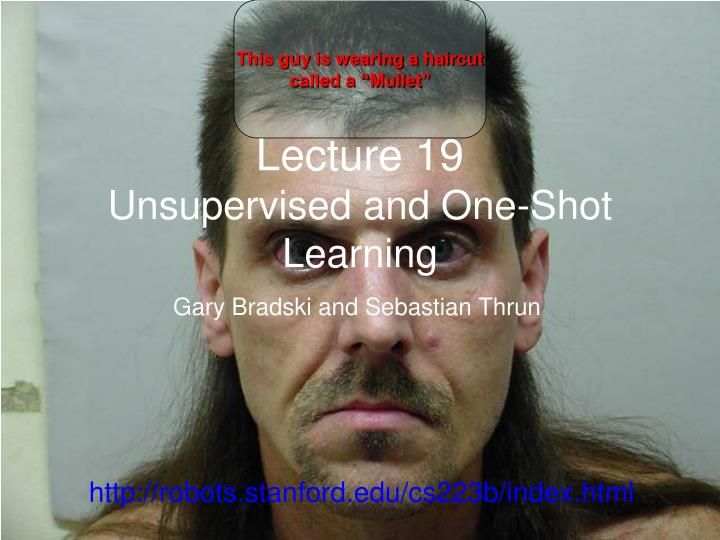 lecture 19 unsupervised and one shot learning
