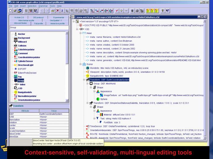 Context-sensitive, self-validating, multi-lingual editing tools