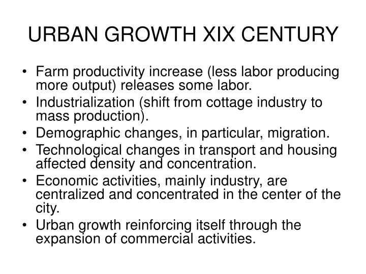 URBAN GROWTH XIX CENTURY