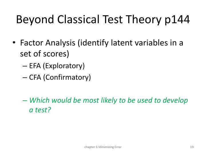Beyond Classical Test Theory p144