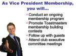 as vice president membership you will