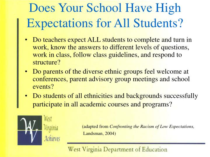 Does Your School Have High Expectations for All Students?