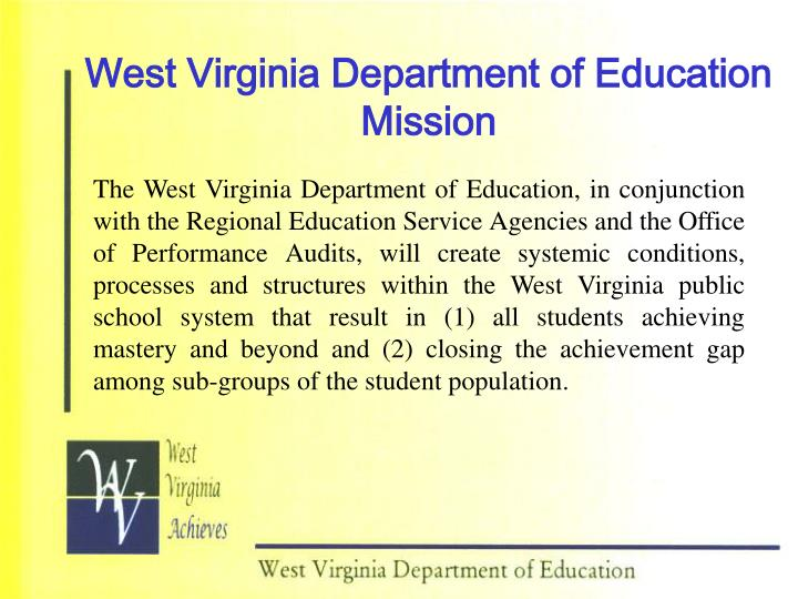 West Virginia Department of Education Mission