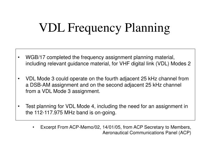 VDL Frequency Planning