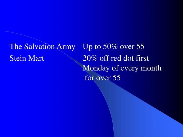 The Salvation Army Up to 50% over 55