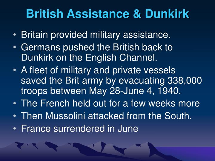 British Assistance & Dunkirk