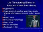 life threatening effects of amphetamines from abuse