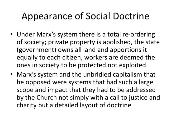 Appearance of Social Doctrine