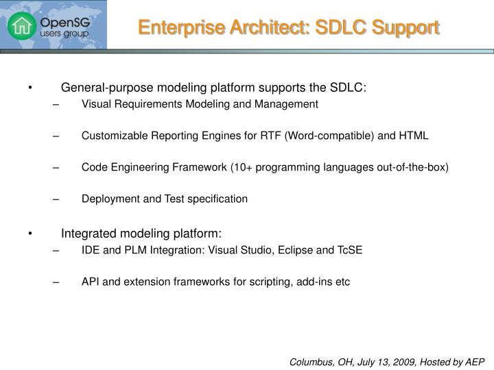 Enterprise Architect: SDLC Support