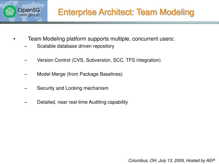 Team Modeling platform supports multiple, concurrent users: