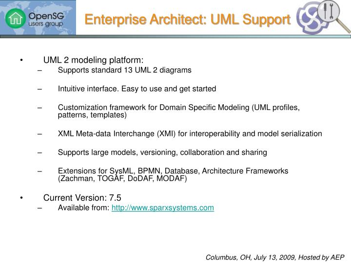 Enterprise Architect: UML Support