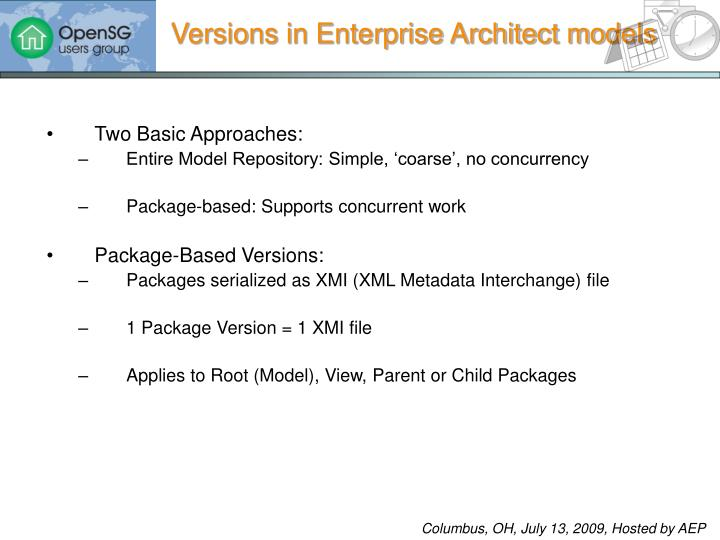 Versions in Enterprise Architect models