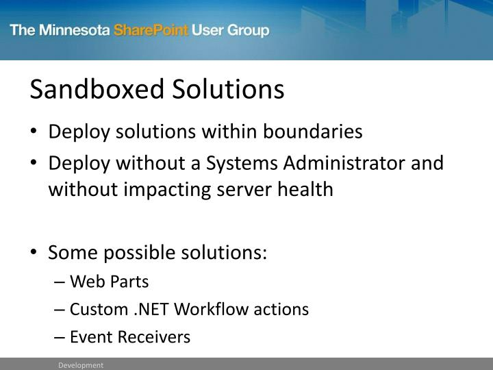 Sandboxed Solutions