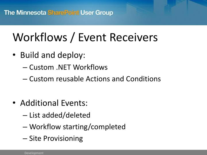 Workflows / Event Receivers