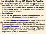 no complete listing of rights is possible