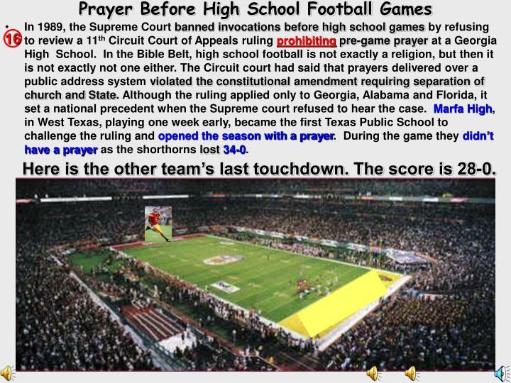 Prayer Before High School Football Games