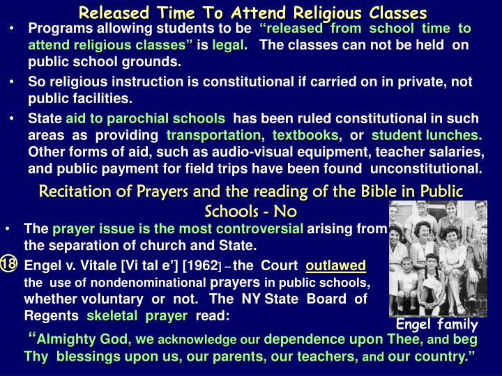 Released Time To Attend Religious Classes