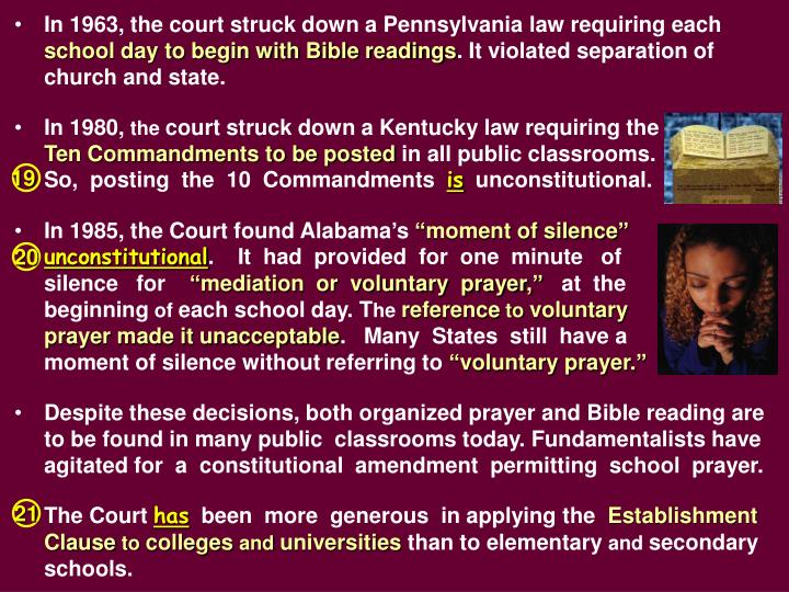 In 1963, the court struck down a Pennsylvania law requiring each