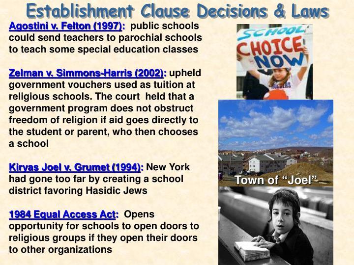 Establishment Clause Decisions & Laws