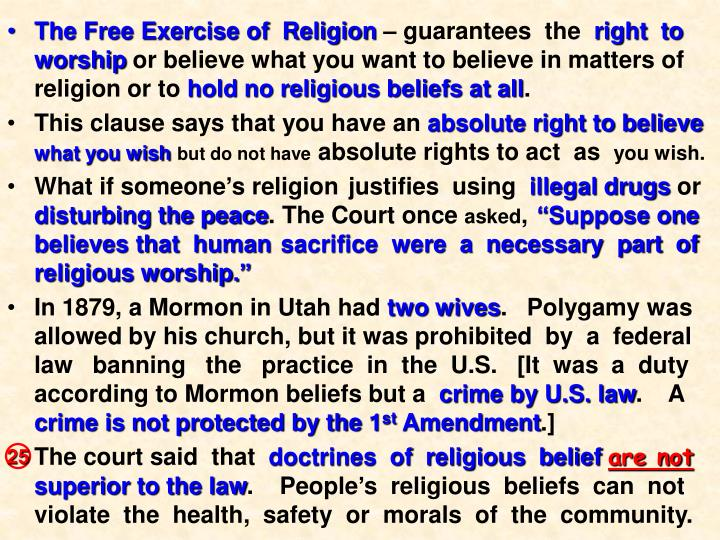 The Free Exercise of  Religion