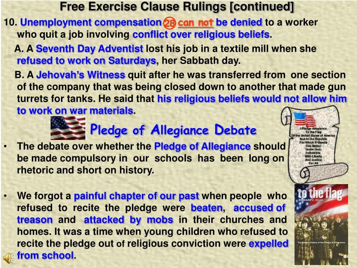 Free Exercise Clause Rulings [continued]