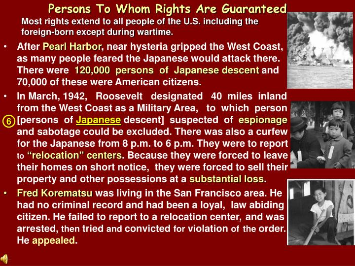 Persons To Whom Rights Are Guaranteed