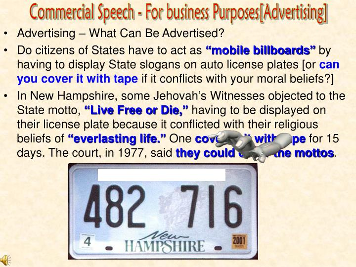 Commercial Speech - For business Purposes[Advertising]