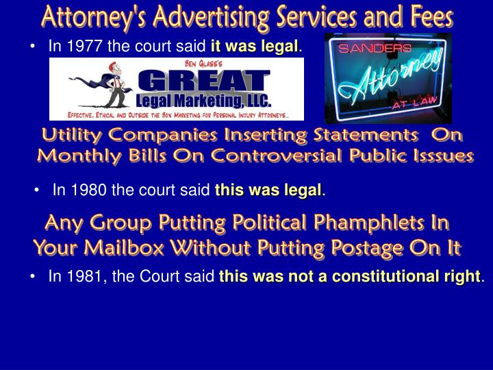 Attorney's Advertising Services and Fees