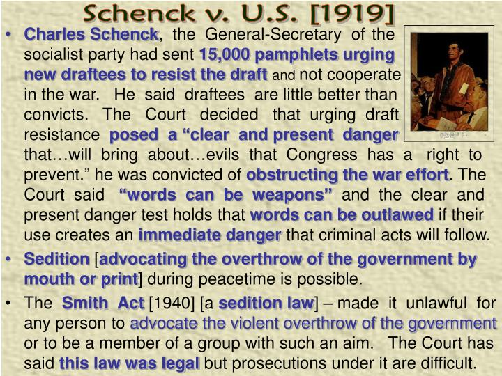Schenck v. U.S. [1919]