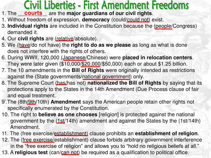 Civil Liberties - First Amendment Freedoms