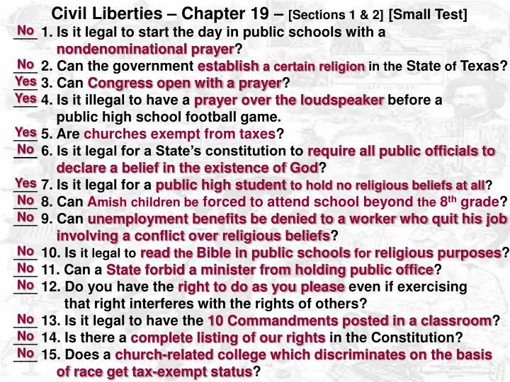 Civil Liberties – Chapter 19 –