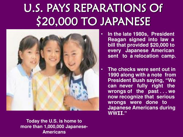 U.S. PAYS REPARATIONS Of $20,000 TO JAPANESE